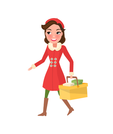 Smiling woman in warm coat, buying presents on Christmas. Girl with color packages, hold cart with presents in hands. Gifts from sale, discounts vector Illustration
