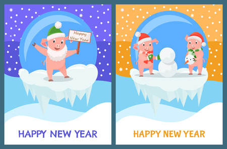 Happy New Year Piglets Building Snowman from Snow Illustration