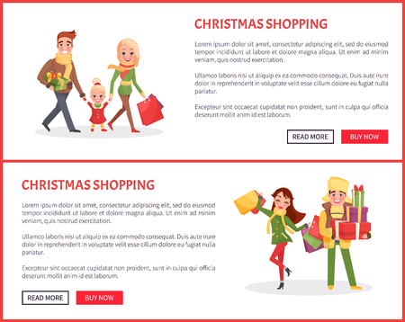 Christmas shopping of family and couple web pages vector. Mother and father holding children carrying packages to celebrate winter holiday approaching