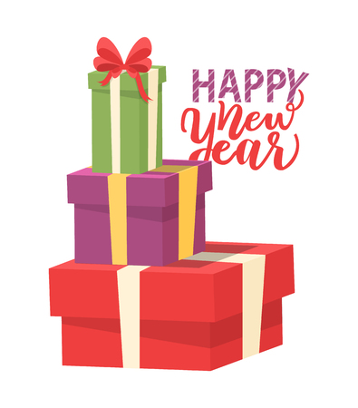 Happy New Year greeting card with pile of presents isolated. Packages in red, purple and green wrapping, heap of gifts with bow, vector boxes, shopping Illustration