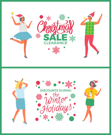 Christmas Sale on Winter Holidays People Partying Stock Photo