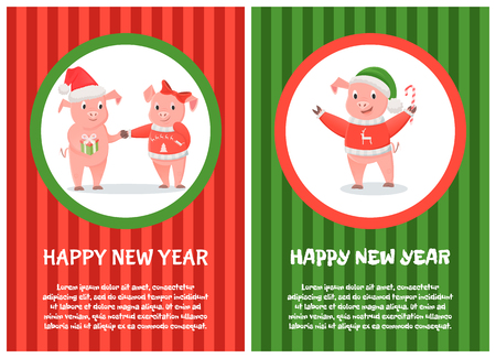 Postcard Happy New Year Pink Pigs 2019 Vector