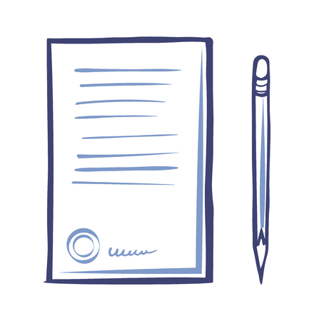 Contract Paper Icon, Sharp Pencil Isolated Vector Illustration