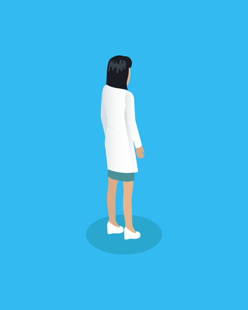 Healthcare promotion representative lady doctor from back view. Medical worker woman in white coat uniform icon for medicine poster or site assistant.