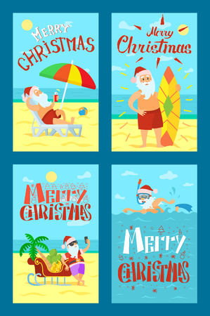 Merry Christmas, Santa Claus lying on sunbed, surfboard and sleigh, man diving in sea. Color umbrella, father frost in red hat drinking refreshing cocktail