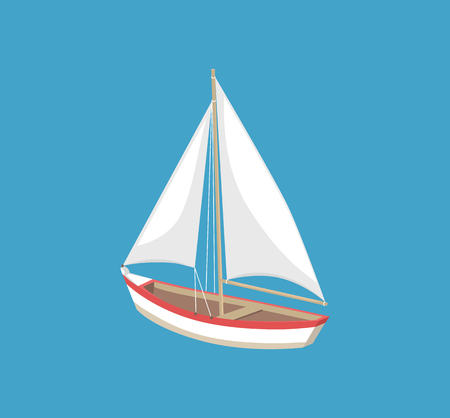 Sail boat with white canvas sailing vector illustration icon isolated on blue. Modern yacht marine nautical personal boat, ship for fishing, personal sailboat Illustration
