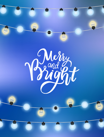 Merry Christmas blue background with glittering garlands. Vector bright lights, bulbs on thread, winter holiday decoration elements sparkling, realistic design