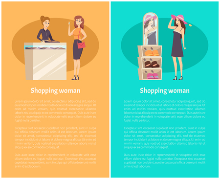 Woman Client Shopping, Try Headgear on Head Vector Illustration