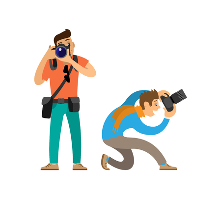 Photographers with Modern Digital Photo Cameras Illustration