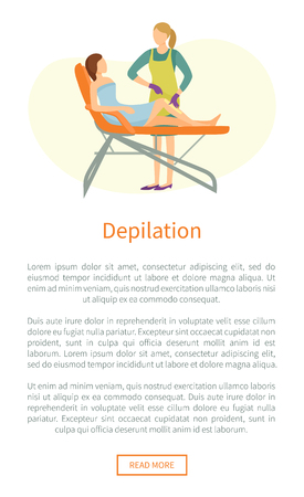 Depilation Poster Woman Lying on Cosmetician Chair Archivio Fotografico - 113673159