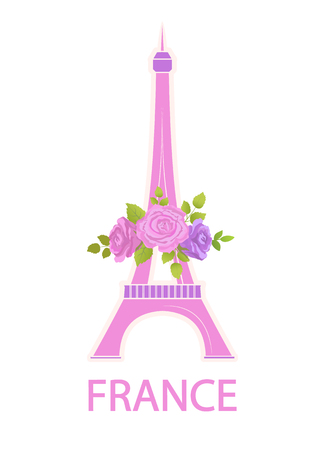 Eiffel Tower Travel Famous World Sight and Flowers Ilustração