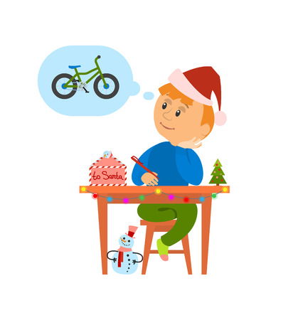 Christmas holidays preparation, letter to Santa Claus vector. Boy thinking of wish to make, kid writing mail dreaming of new bicycle. Child with pine Standard-Bild - 126964889