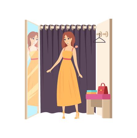 Cliente dans le vestiaire, shopping en train d'essayer un vecteur vestimentaire. Miroir avec reflet d'une dame portant une robe, rideau de suspension. Client choisissant des vêtements