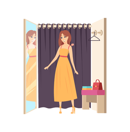 Woman client in changing room, shopping trying on dress vector. Mirror with reflection of lady wearing robe, hanger curtain. Customer choosing clothes