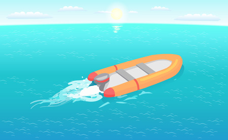 Inflatable rescue boat sailing in deep blue waters living trace. Safety rubber sailboat, transportation vehicle at sos situations, motor rowing craft vector