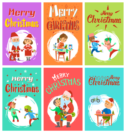 Christmas holidays, letter to Santa Claus, cartoon character Snow Maiden, kids playing snowballs, skating outdoors, child telling wishes vector in brush frame