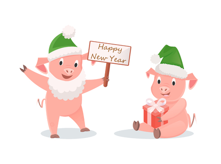 New Year Pigs with Gift Box and Greeting Signboard Illustration