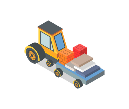 Construction machine with loaded bricks and boxes vector. Industrial machinery, building assisting device, transporting cargo and goods. New equipment Illustration