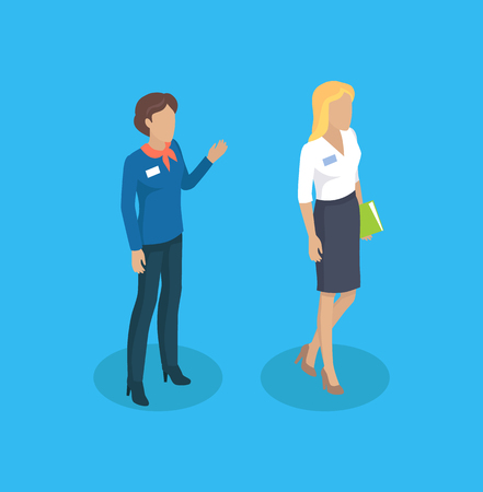 Secretary and manager waving hand in greeting gesture. Woman wearing formal suit holding file of papers. Working business ladies 3d isometric vector