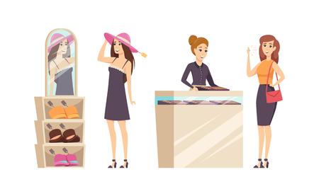 Frau, die verschiedene Hüte im Setvektor des Shops versucht. Juweliergeschäft mit Berater zum Kauf von Goldringen mit Diamanten. Kunde mit Edelstein