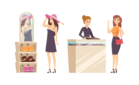 Female trying different hats in shop set vector. Jewelry store with consultant advising to buy gold ring with diamond. Customer with precious stone
