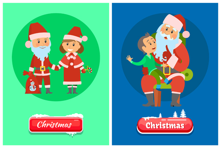 Christmas greeting pages, Santa Claus and Snow Maiden in red holiday costumes, kid sitting on laps vector. Boy child making wish to Saint Nicholas 向量圖像