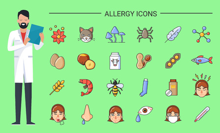 Allergy icons doctor with prescription in hands vector. Allergens and disease reasons, animals and flowers, food and symptoms. Eggs and beans, fish