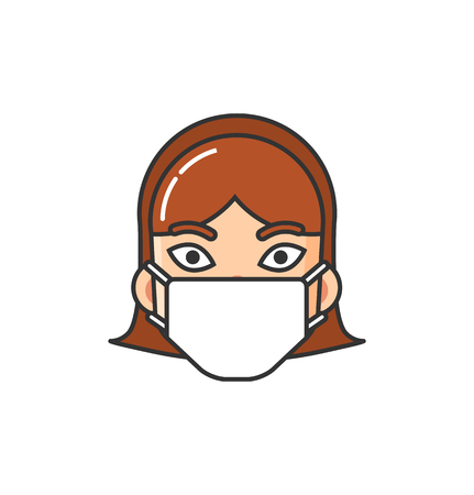 Icon with women wearing medical mask. Allergic person isolated illustration on a white background. Illness and disease symptoms concept vector isolated