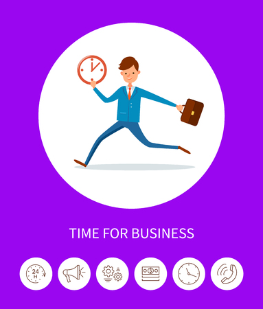 Time for Business, Businessman with Time Clock 스톡 콘텐츠 - 113673198
