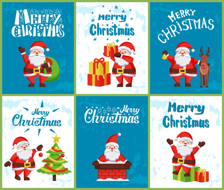 Merry Christmas, Santa Claus skating on skate rink, send greetings with bag, decorating Xmas tree, sitting in chimney pipe, with reindeer helper and gift boxes vector