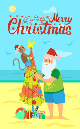 Merry Christmas, Santa Claus and monkey decorating umbrella with balls and garlands New Year in hot countries, Saint Nicholas on vacation, vector coast line