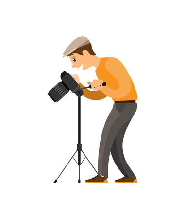 Photographer adjusting digital camera on tripod. Man setting device to take photo. Picture creating process cartoon vector illustration isolated.