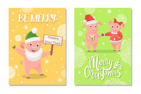 New Year Piglets Couples and Card Wishes Vector