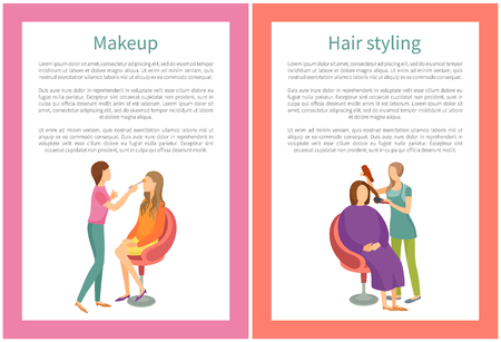 Makeup and Hair Styling Posters Set Text Spa Salon Illustration