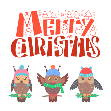 Merry Christmas lettering, bullfinch set sitting on branch in warm winter hat. Wintertime birds in winter cloth, feathered owls vector isolated on white