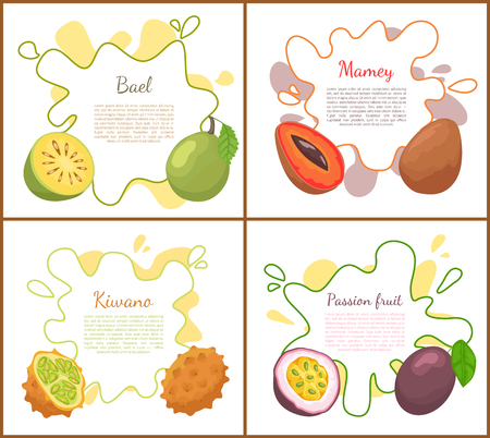 Bael and Mango Posters Set Vector Illustration