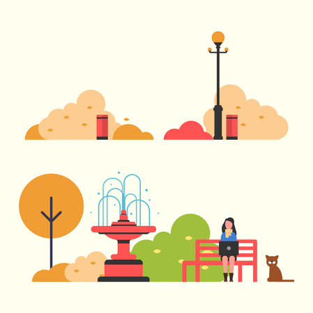 Autumn view of park with big fountain and red bench, lantern and urns, woman with laptop near sitting cat, green and brown brushes and trees vector  イラスト・ベクター素材