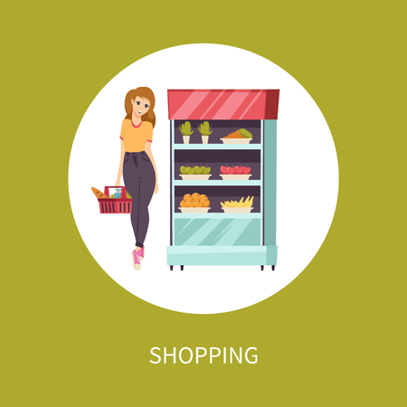 Shopping food woman with basket and meal vector. Customer looking at vegetables and fruits in refrigerator at supermarket. Carrot and apples bananas  イラスト・ベクター素材