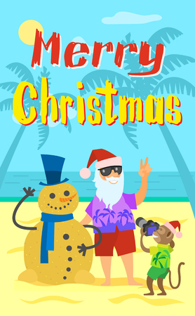 Merry Christmas, Santa Claus making photo with snowman made of sand in winter hat and scarf. Monkey and Saint Nicholas on summer holidays, vector New Year