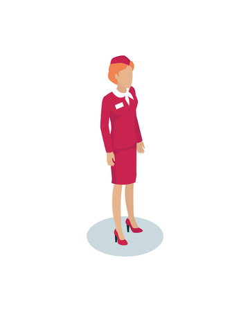Stewardess woman character in overall cloth with cap icon isolated. Airline cabin attendant female representative miniature vector isometric character.