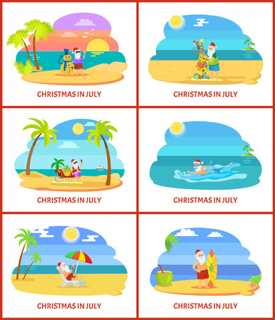 Christmas in July vector illustrations on beach. Santa have rest on plage making snowman and tree, standing near sleigh and surf and swimming in water Illustration