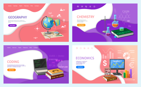 Chemistry and geography, coding discipline in school vector. Chemistry lessons and economics classes, financial research and analysis. Economy subject Çizim