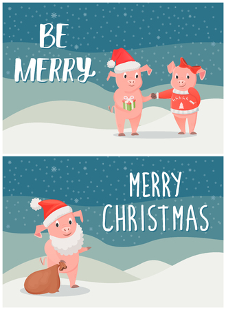 Be Merry Wishes on Christmas, Male, Female Piglets Illustration