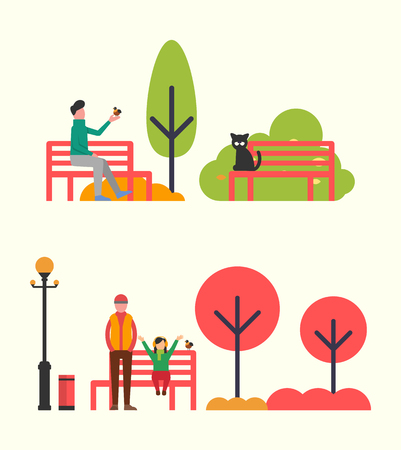 Man sitting on bench and holding bird in hands. Vector family father and daughter on seat. Autumn landscape with color trees, street lamp and bin