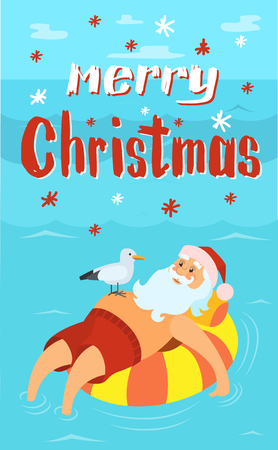 Merry Christmas, Santa Claus on life buoy, seagull bird, vector cartoon character celebrating New Year in tropical country. Vector bearded man in inflatable float  イラスト・ベクター素材