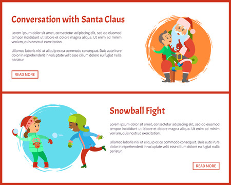Conversation with Santa and Snowball Fights Vector Zdjęcie Seryjne - 113673212