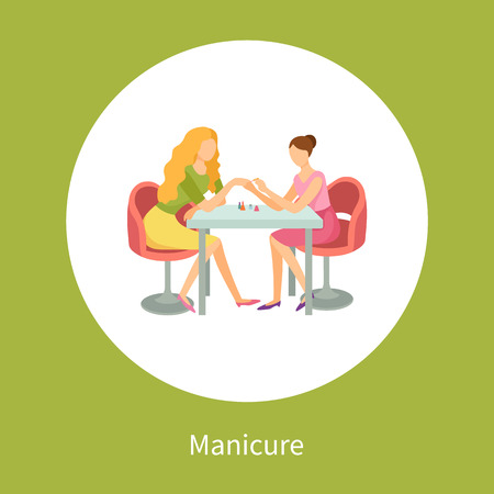 Manicure and Hand Treatment, Nails Polishing Vector Banco de Imagens