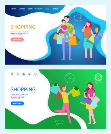 Shopping family and friends vector. Teamwork importance, drive to success of company. Collaboration helps achieve a number of key business benefits