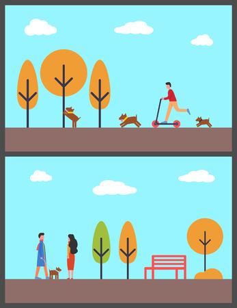 가을 공원에서 개를 걷는 사람들, 스쿠터를 탄 남자