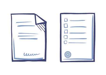 Conseils de liste de feuilles de papier, texte de contrat signé, timbre